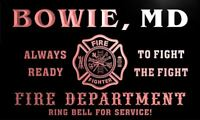qy57378-r FIRE DEPT BOWIE, MD MARYLAND Firefighter Neon Sign