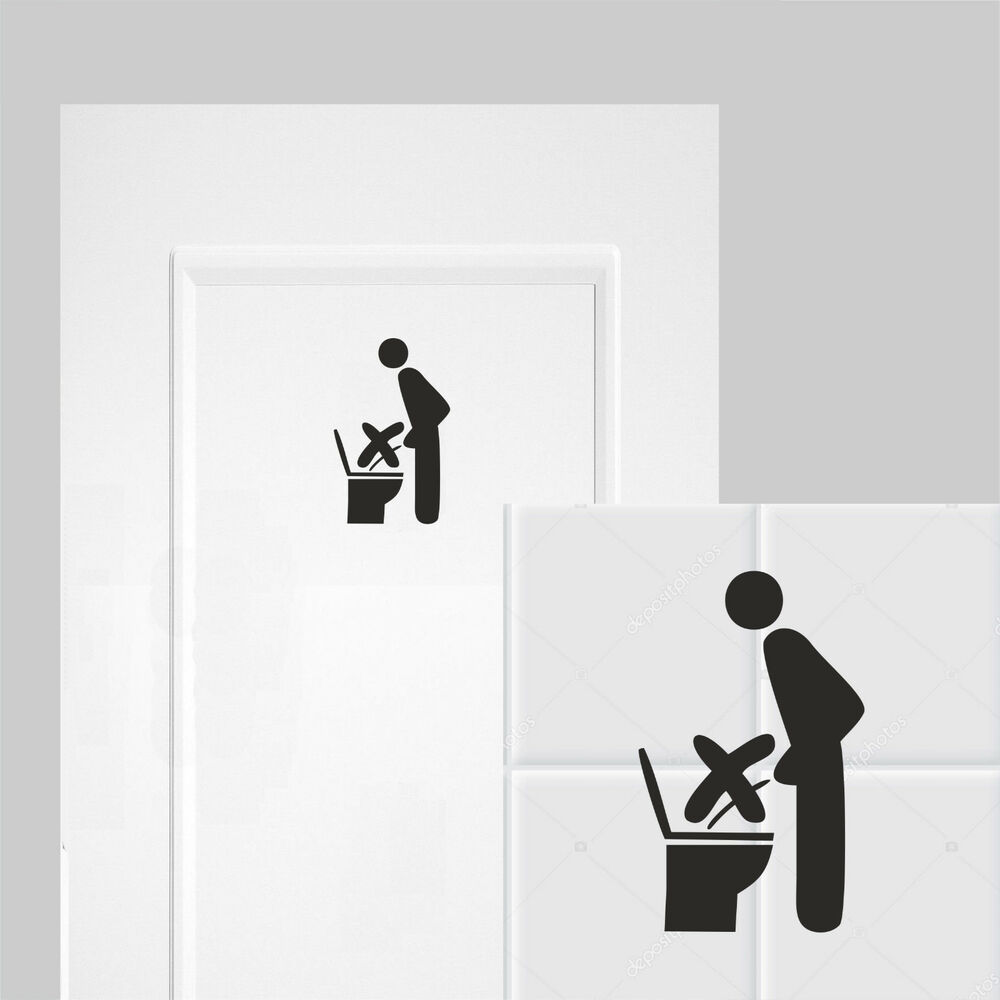 bad wc toilette klo aufkleber im sitzen pinkeln ebay. Black Bedroom Furniture Sets. Home Design Ideas