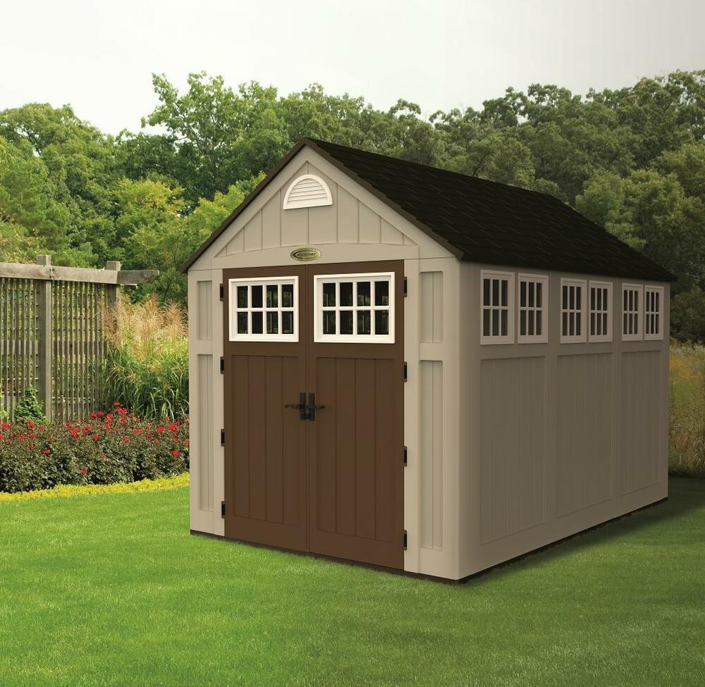 Suncast sheds alpine 7 5 x 10 resin storage shed w floor for Resin garden shed