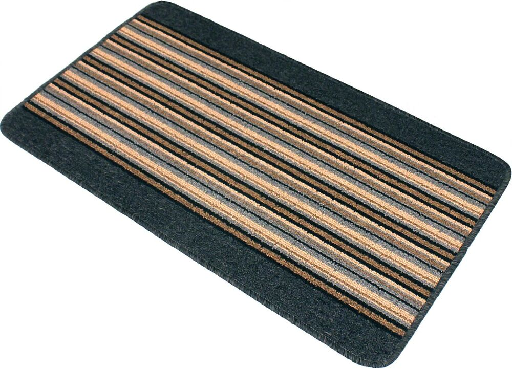 new washable non slip quality door mat stripes runner rug kitchen dark cheapest ebay. Black Bedroom Furniture Sets. Home Design Ideas