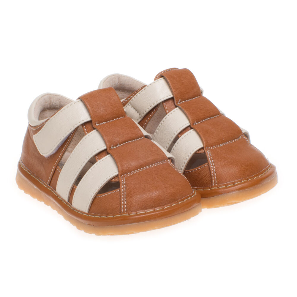 Little Blue Lamb White Brown Leather Squeaky Sandals Shoes ...