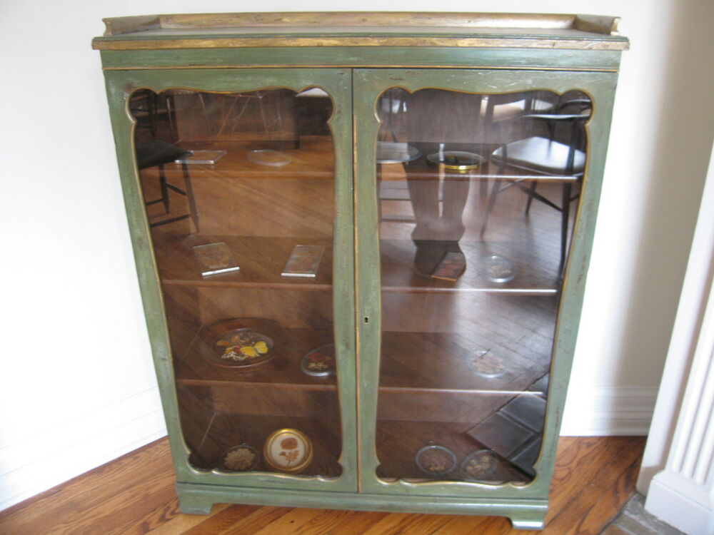 Vintage Antique Gothic Style Green Amp Yellow Painted