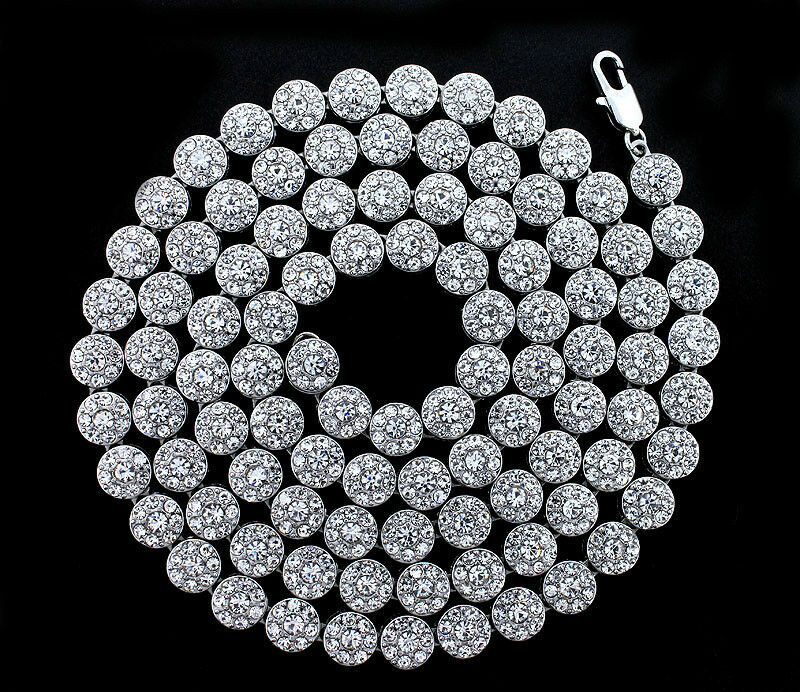 Brand New 1 Row Iced Out Silver Hip Hop Flower Cluster