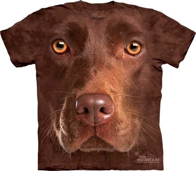 Chocolate lab dog face the mountain adult child t shirts for Dog t shirt for after surgery
