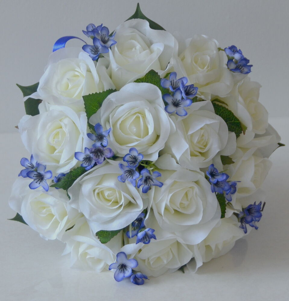 Wedding Bouquets With Blue Flowers: 1x Silk Wedding Bouquet Bridesmaid Posy White Rose Blue