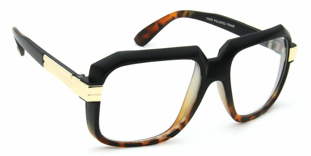 Retro Square Eyeglasses Clear Lens Black Brown Men Women