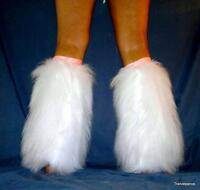 UV WHITE PINK FURRIES FLUFFIES FLUFFY LEGWARMERS BOOTS COVERS RAVE GO GO HEN PAR