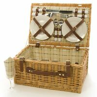 4 Person Wicker Picnic Hamper Basket, Wicker Hamper By LA ROCA