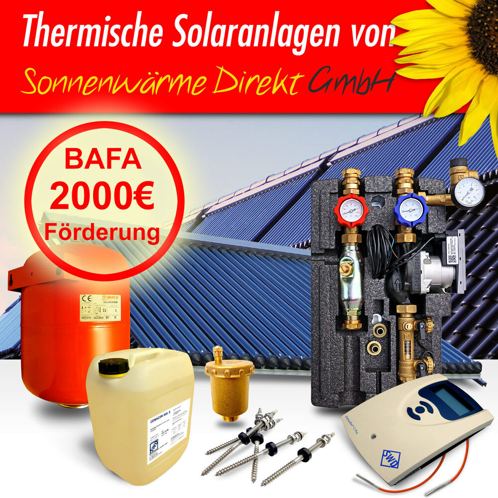 solaranlage komplett 10 m solar heizung warmwasser 2000 bafa f rderung ebay. Black Bedroom Furniture Sets. Home Design Ideas