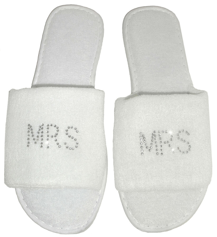 2 pairs mr mrs slippers personalised rhinestone spa for Mr and mrs spa