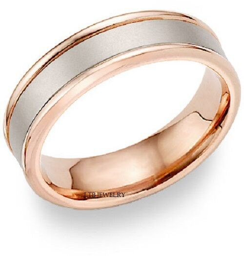 Mens 10k White And Rose Gold Wedding Bans Two Tone Gold