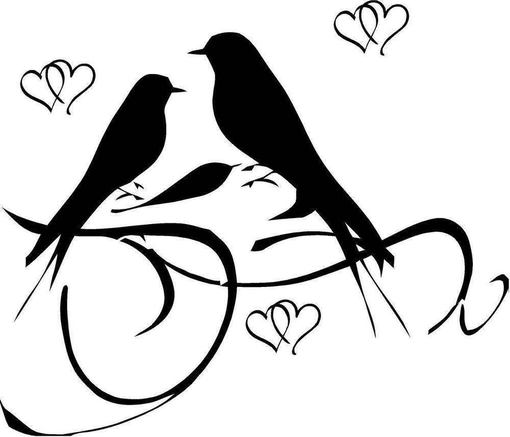 2 love birds with hearts vinyl wall decal