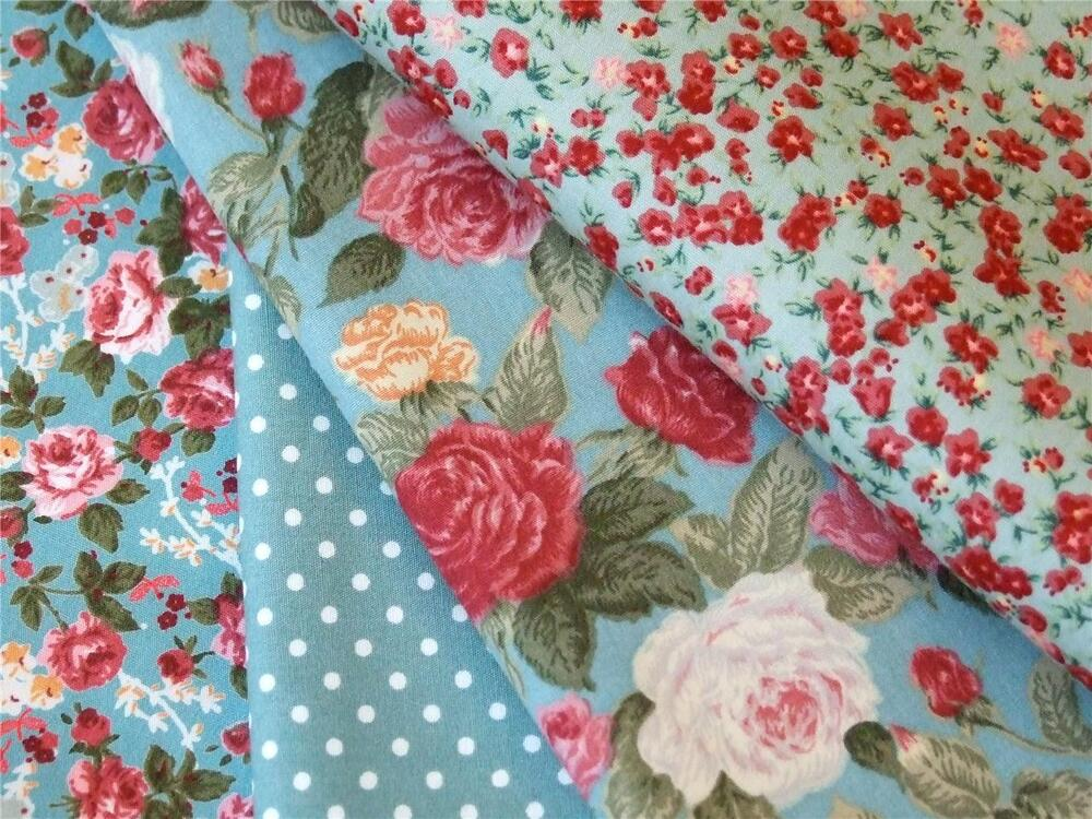 ROSES Fabric- 100% COTTON vintage FLORAL MATERIAL by the ... |Vintage Floral Fabric