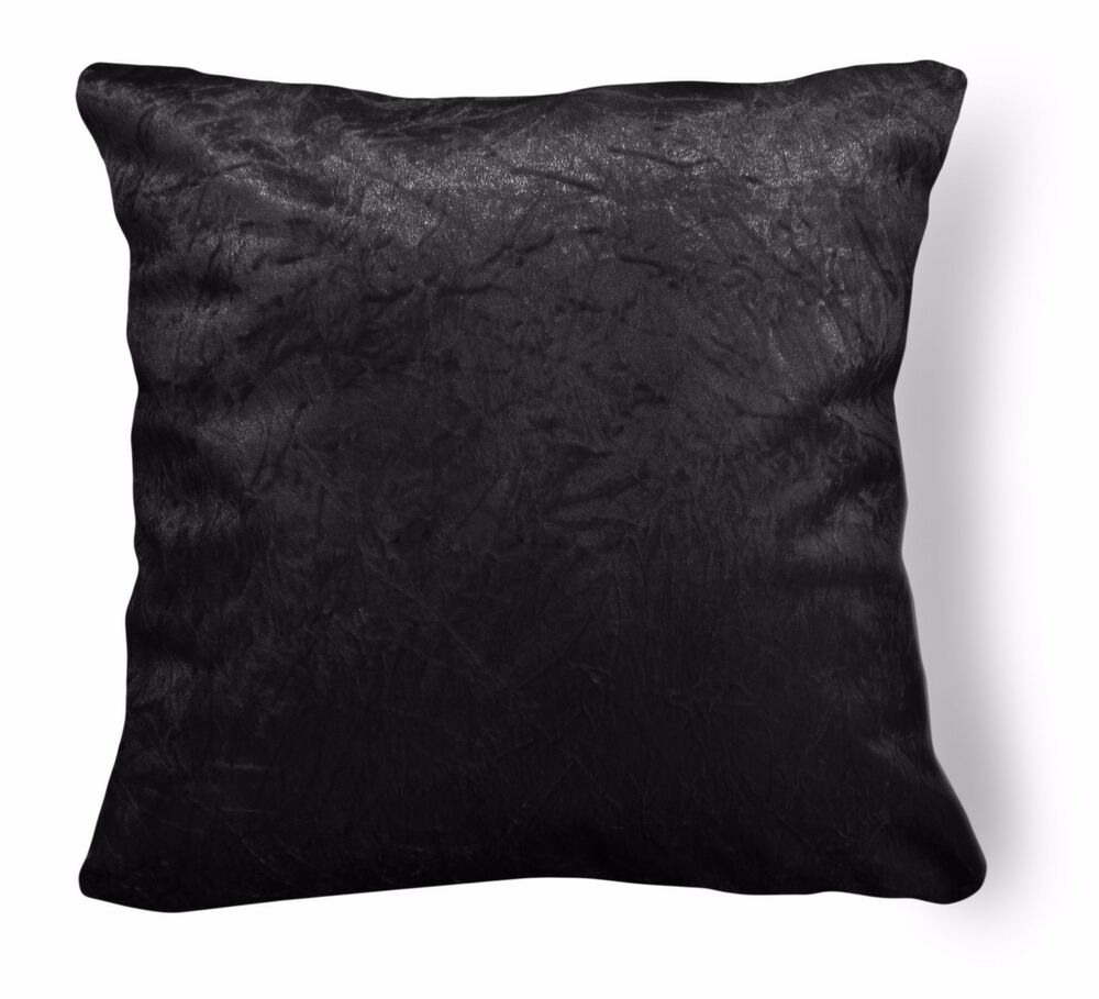 Mn126a Black Crushed Velvet Style Cushion Cover Pillow