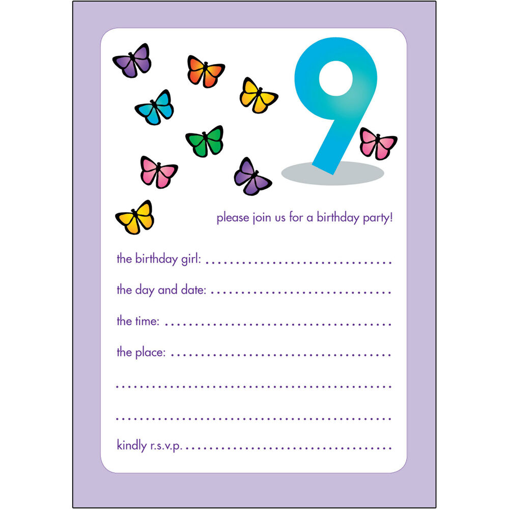 Details About 10 Childrens Birthday Party Invitations 9 Years Old Girl
