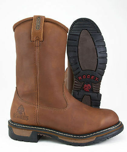 ROCKY INSULATED WATERPROOF WELLINGTON SLIP ON WORK BOOTS - ALL
