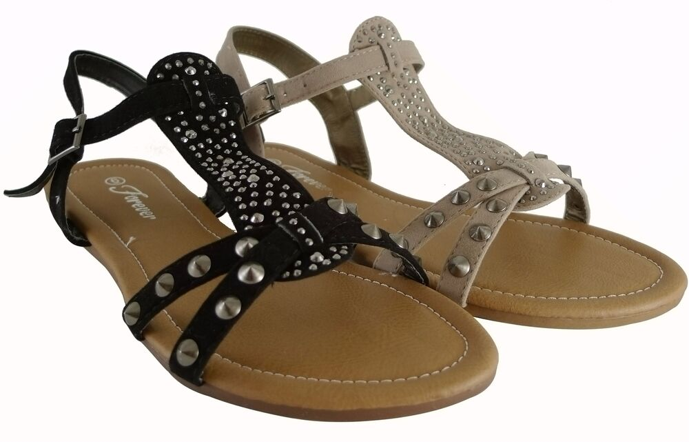 Women Sandals T Strap Shoes Sexy Spike Studded Design