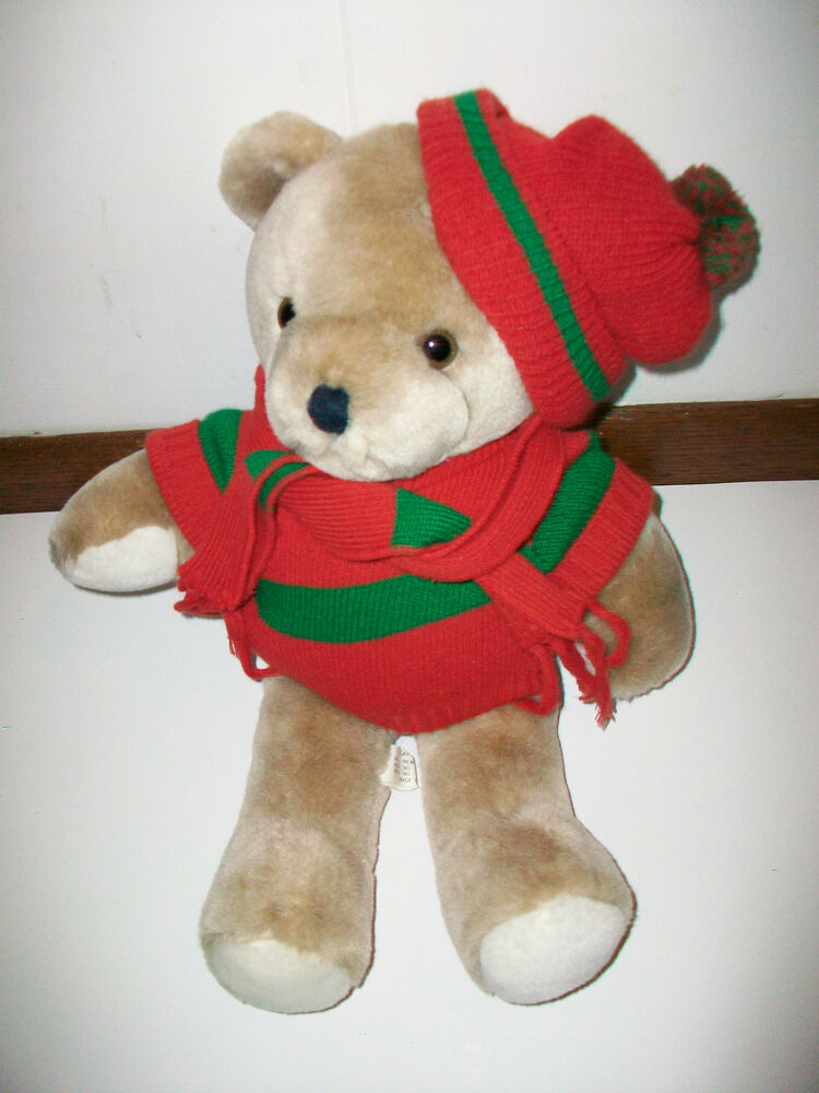 vintage caffco plush teddy bear wearing red green knit. Black Bedroom Furniture Sets. Home Design Ideas