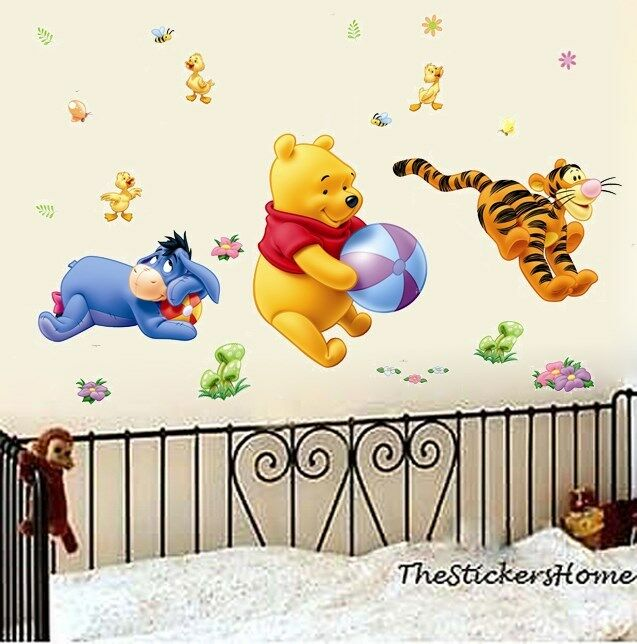 Removable winnie the pooh tigger play wall decal art for Baby pooh and friends wall mural