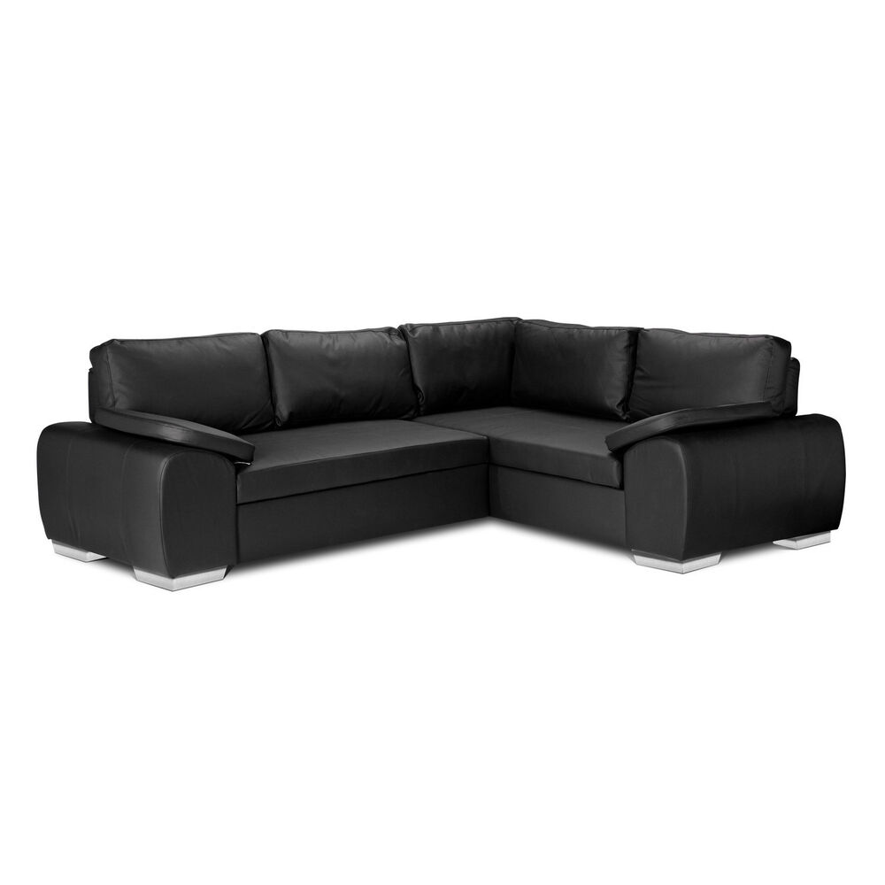 New enzo corner sofa bed lift up storage in faux for Black leather sectional sofa uk