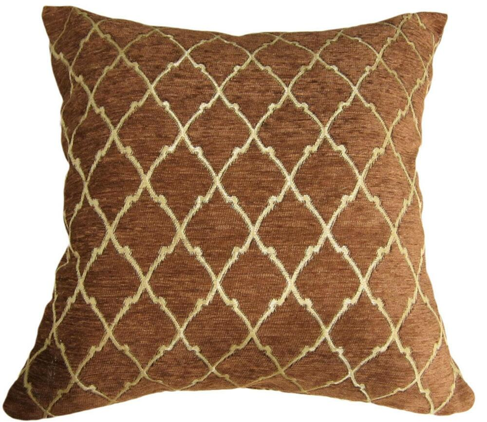 Brown Chenille Throw Pillows : Wd24Ba Gold on Brown Damask Chenille Check Throw Cushion Cover/Pillow Case *Siz eBay
