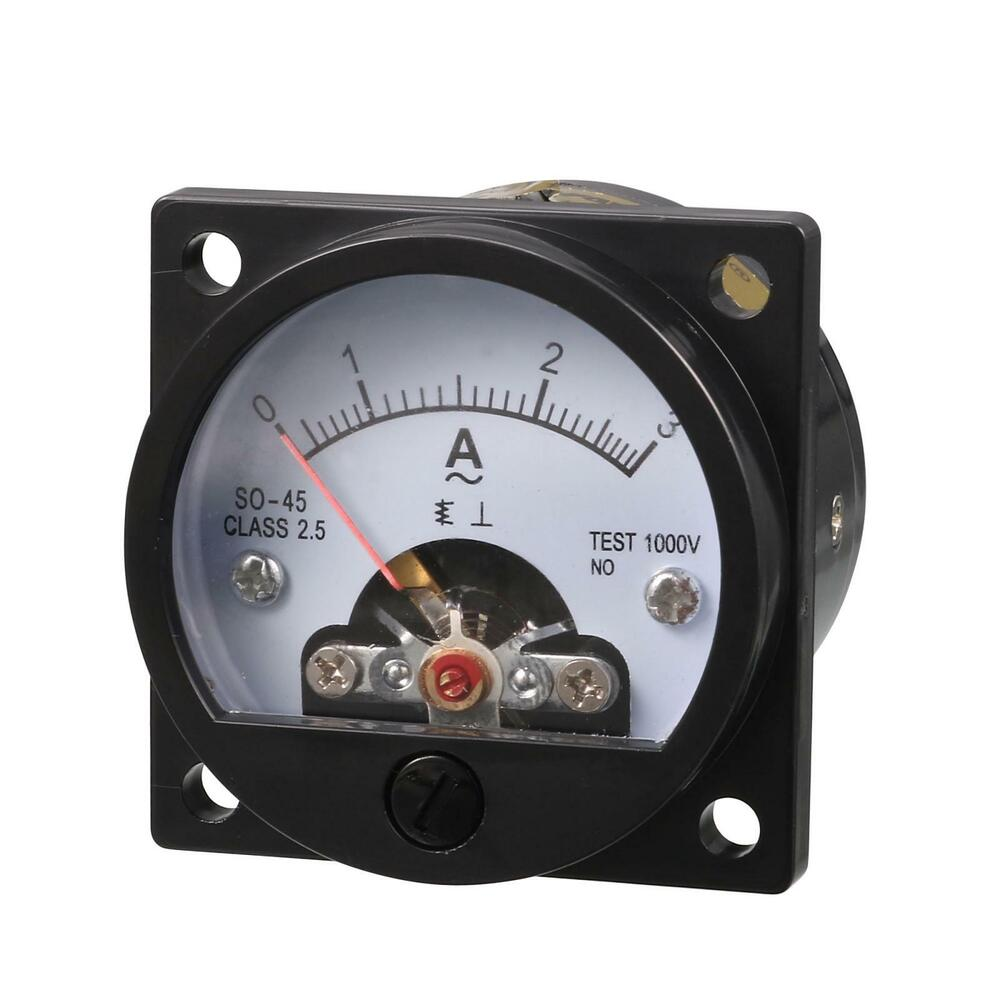ac 0 3a round analog panel meter current measuring ammeter gauge black ebay. Black Bedroom Furniture Sets. Home Design Ideas
