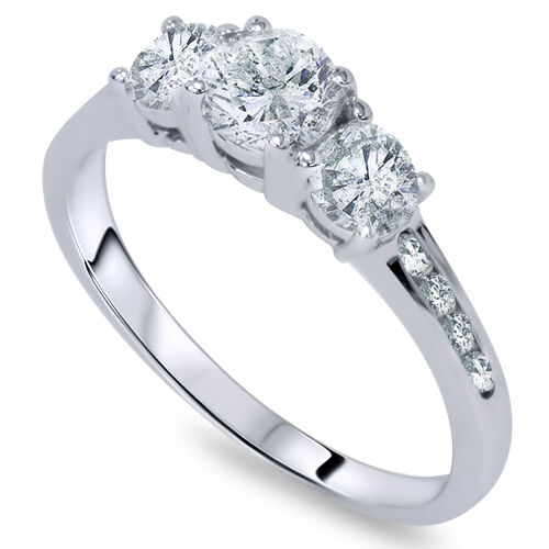 1ct three stone diamond engagement ring 14k white gold ebay