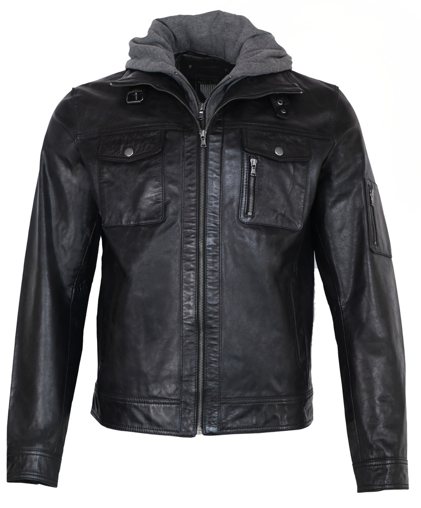 neu rex von ricano herren echt nappa lederjacke s m l xl xxl schwarz kapuze ebay. Black Bedroom Furniture Sets. Home Design Ideas
