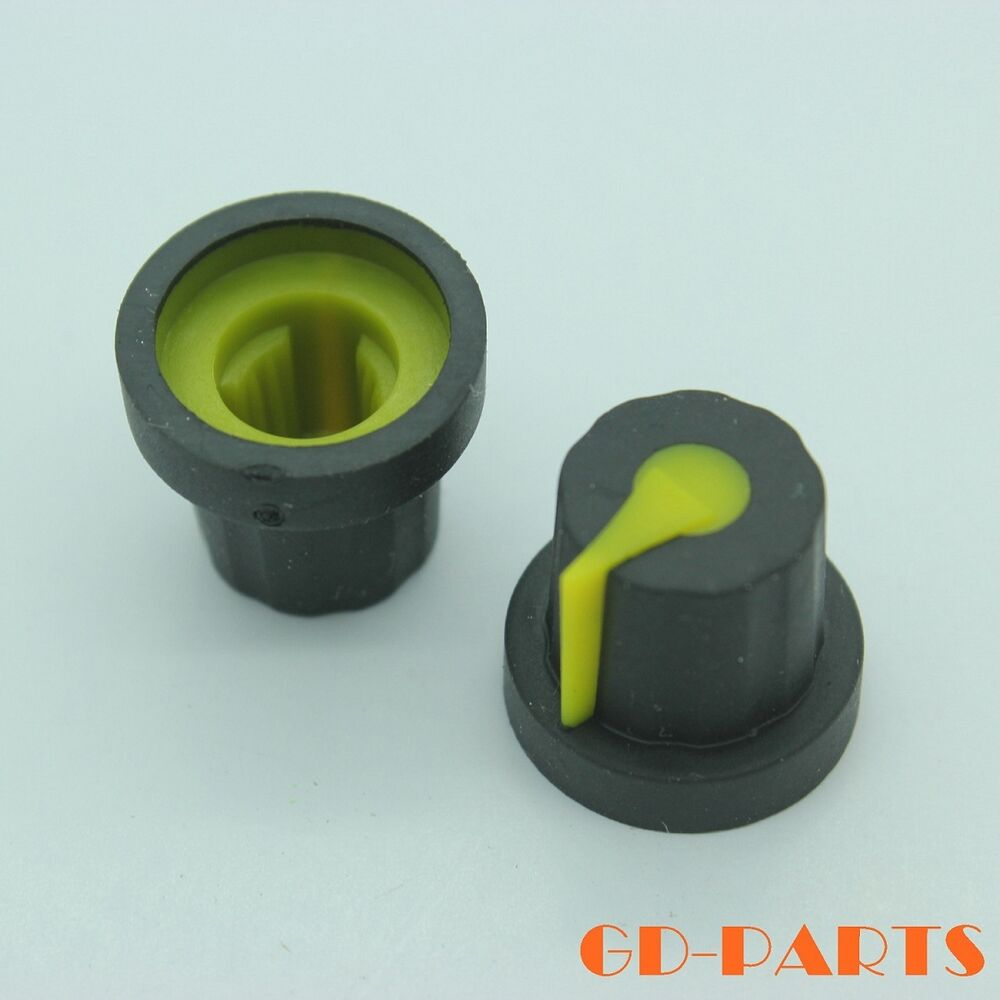 16x14mm Black Yellow Rubber Knobs For Guitar Amp Effect