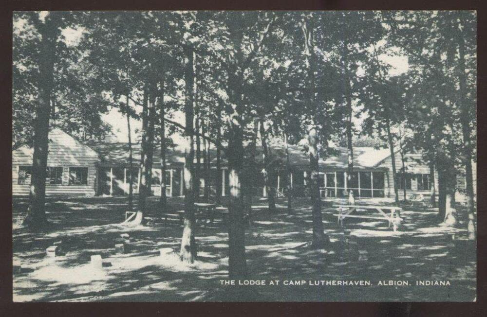 Postcard Albion Indiana In Camp Lutherhaven Lodge View