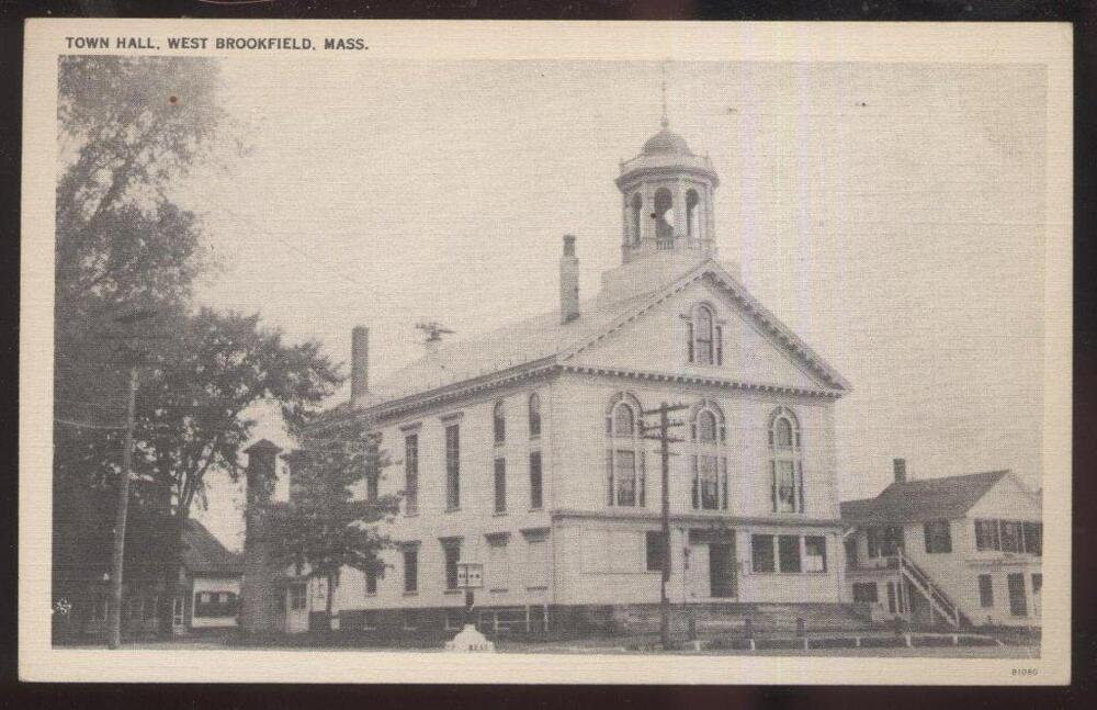 1920s postcard west brookfield ma town hall ebay. Black Bedroom Furniture Sets. Home Design Ideas
