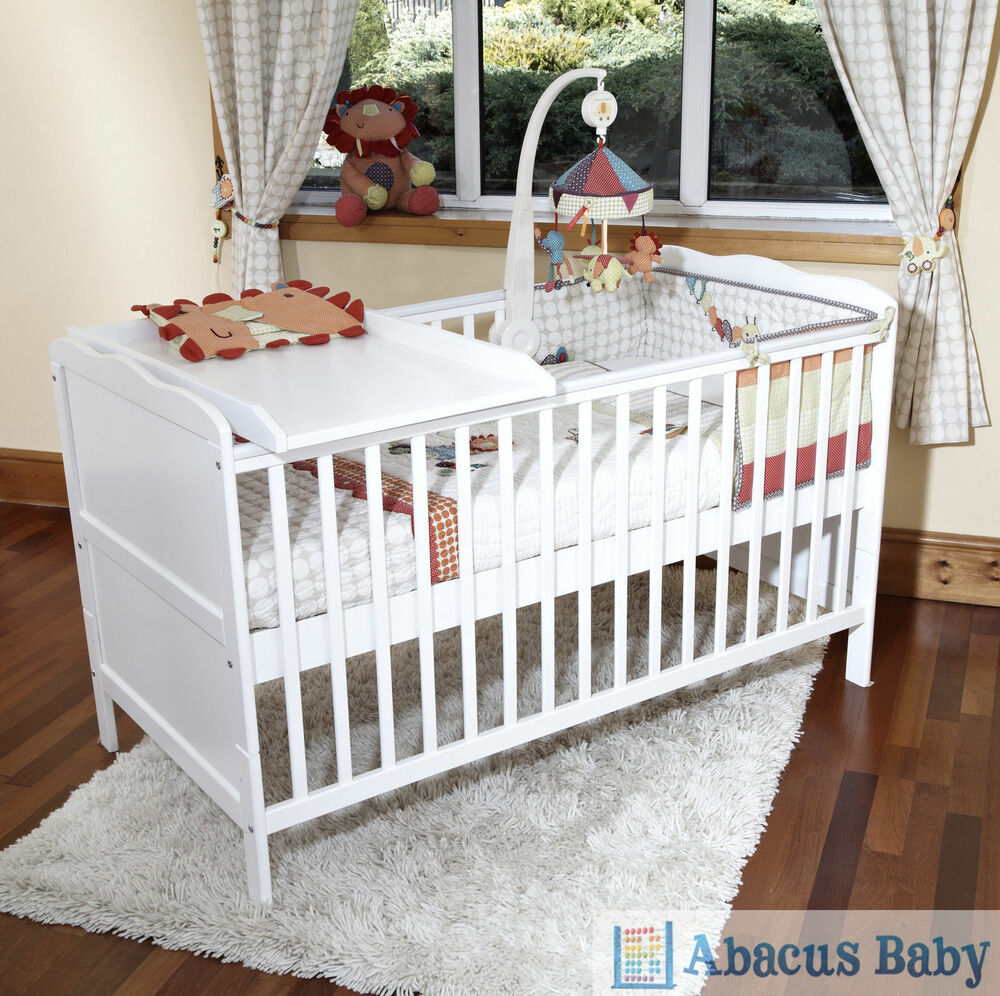 Crib mattress for babies - White Cot Bed Cotbed Deluxe Foam Safety Mattress Cot Top Changer Junior Bed