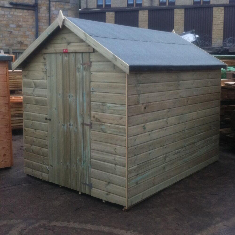 8x6 new garden shed tanalised pressure treated wooden apex