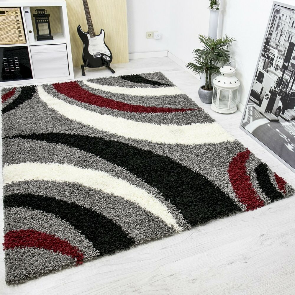 moderner hochflor shaggy designer teppich carpet grau schwarz rot blitzversand ebay. Black Bedroom Furniture Sets. Home Design Ideas