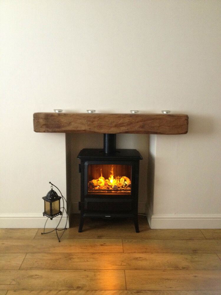 Oak Beam Fireplace Mantel Reclaimed Lintel Rustic Floating Fixings Ebay