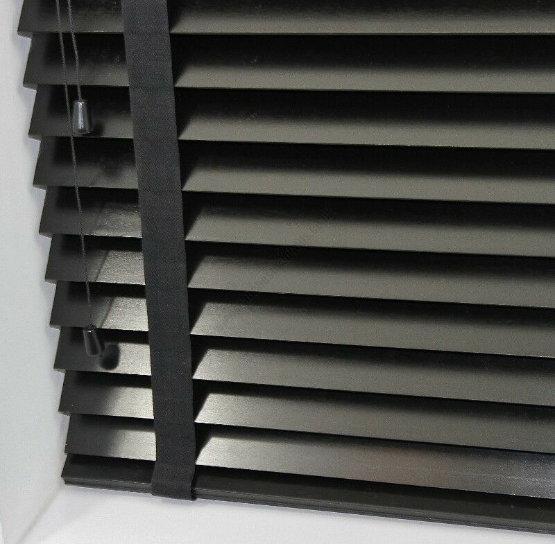 Premium Made To Measure Black Wooden Venetian Blind With
