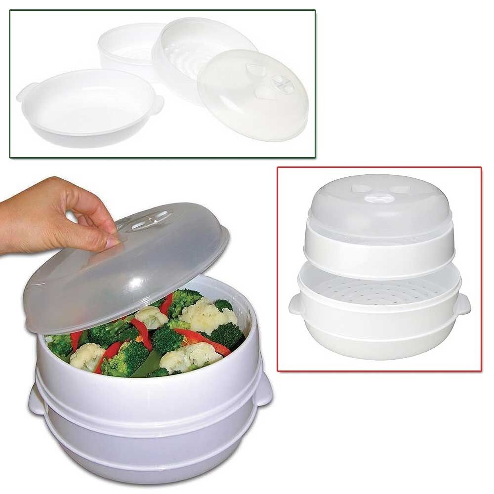 Handy gourmet 2 tier microwave steamer food cooker for Cooking fish in microwave