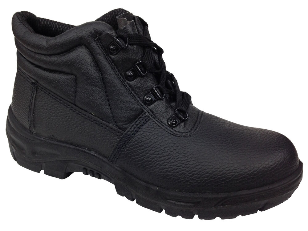 new unisex safety boots work shoes black leather