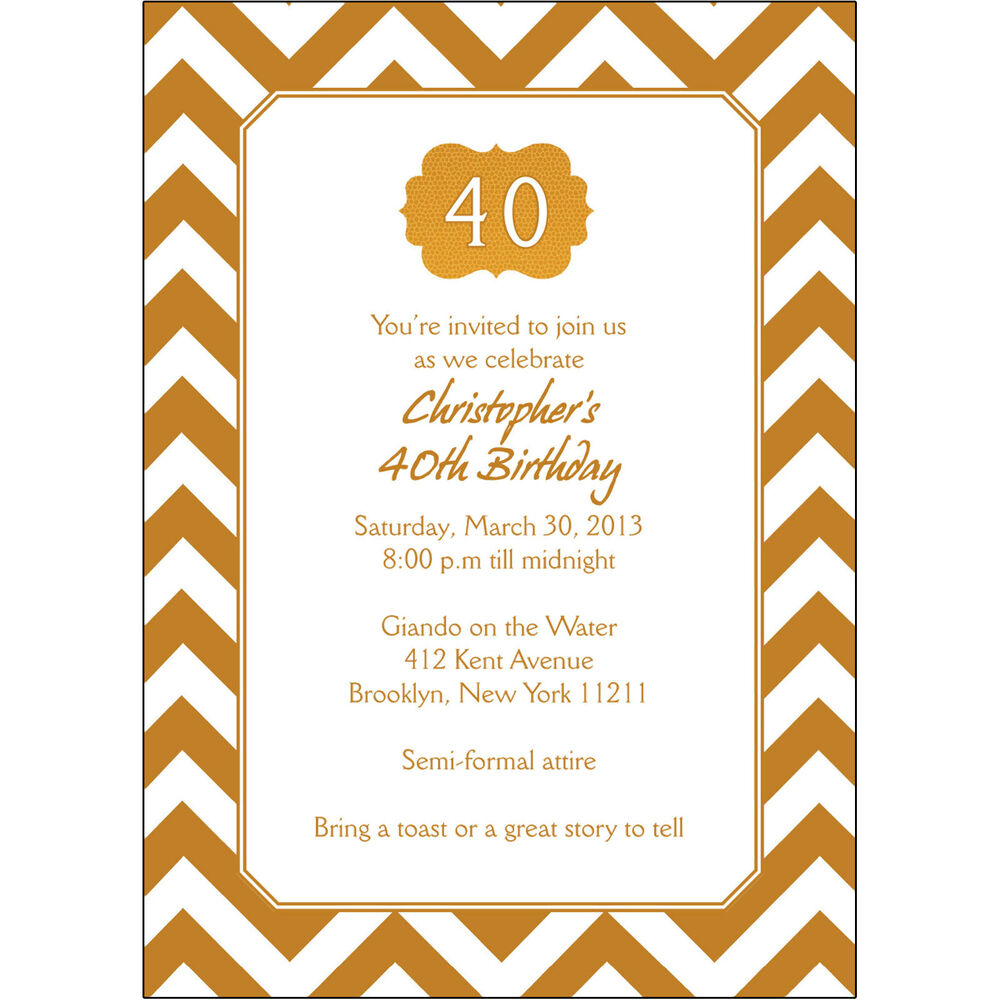 Details About 25 Personalized 40th Birthday Party Invitations