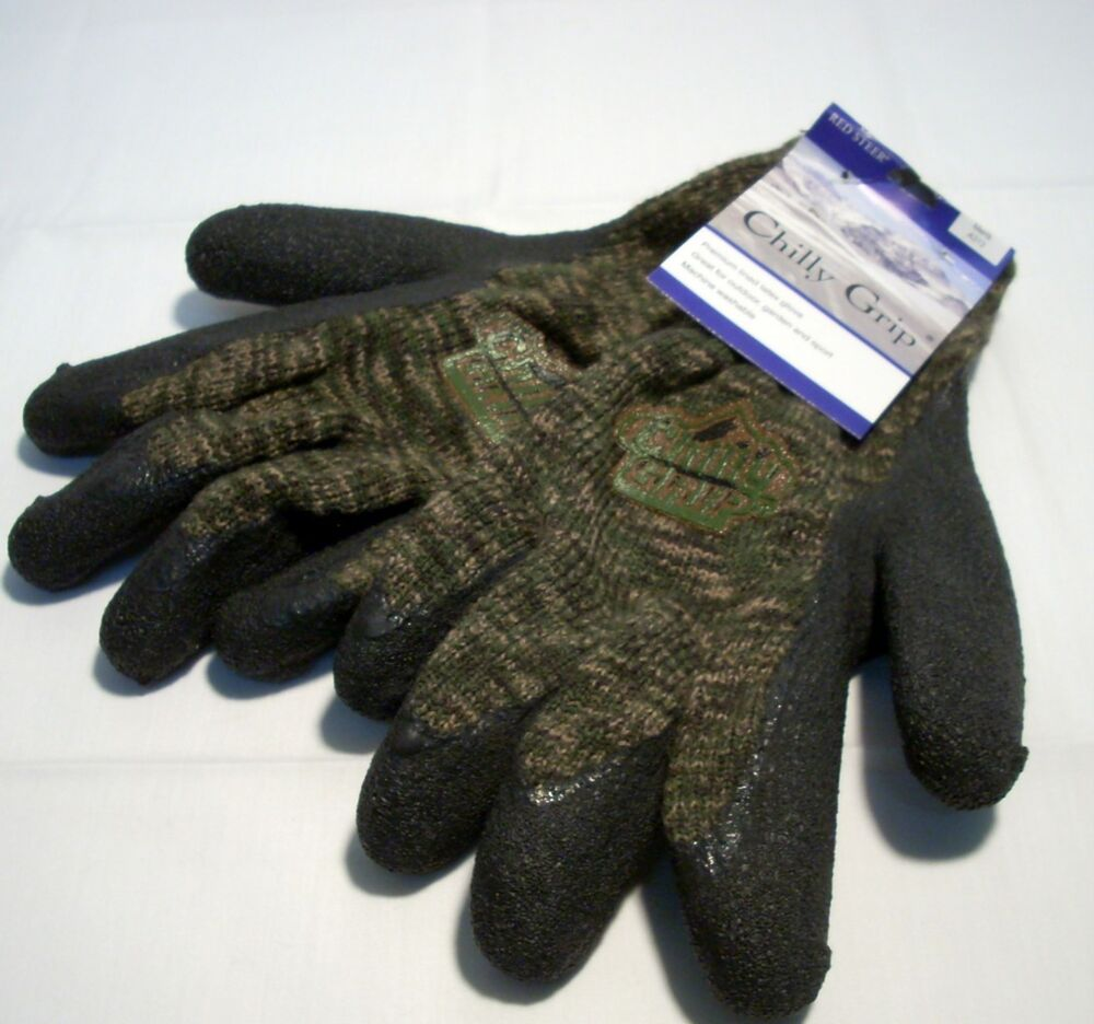 Red Steer Gloves : Red steer camo camouflage chilly grip gloves black texture