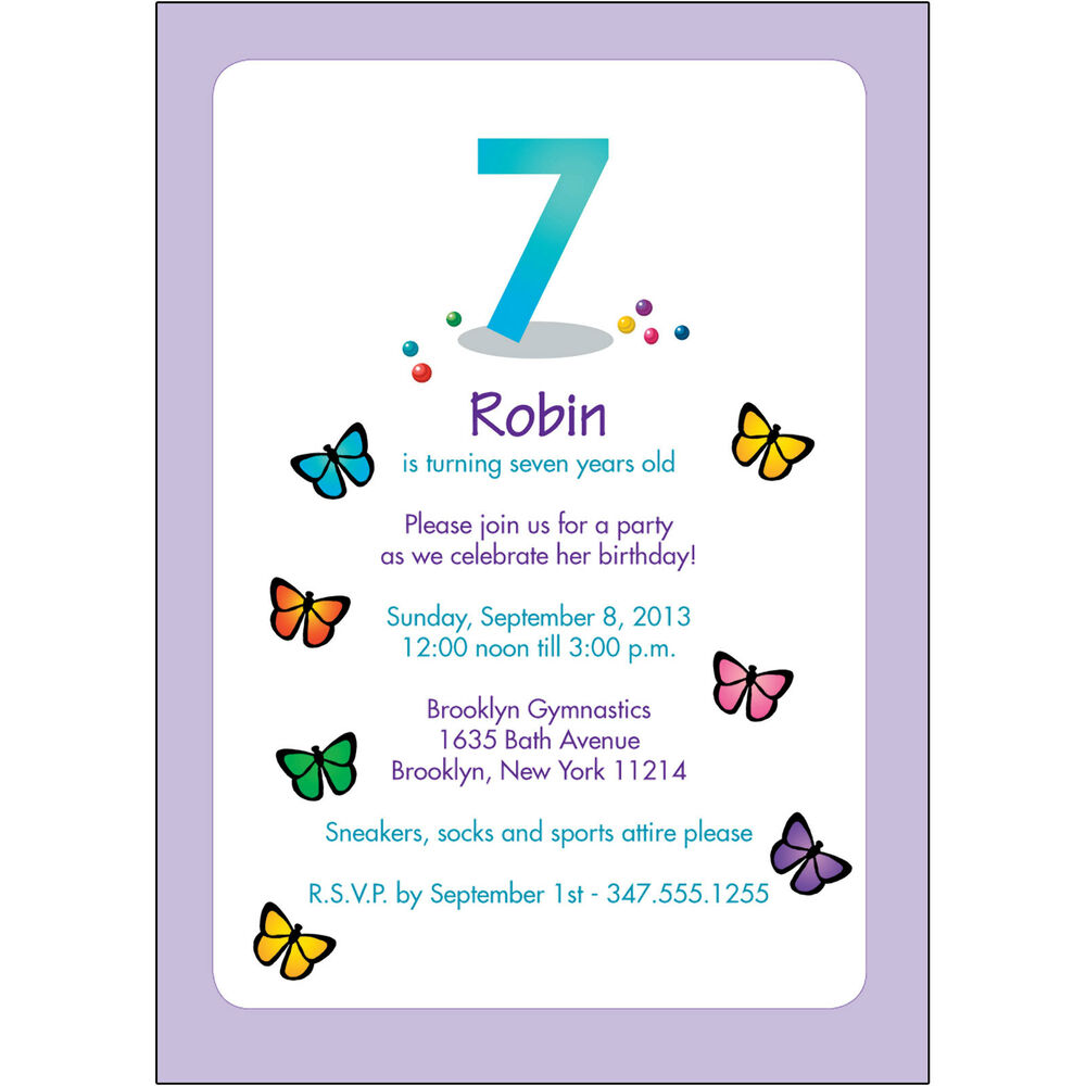 Details About 25 Personalized Childrens Birthday Party Invitations 7 Years Old