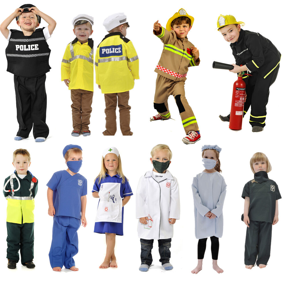 Childrenu2019s Kids Boys Girls Emergency Services Fancy Dress Up Costume Outfit | EBay