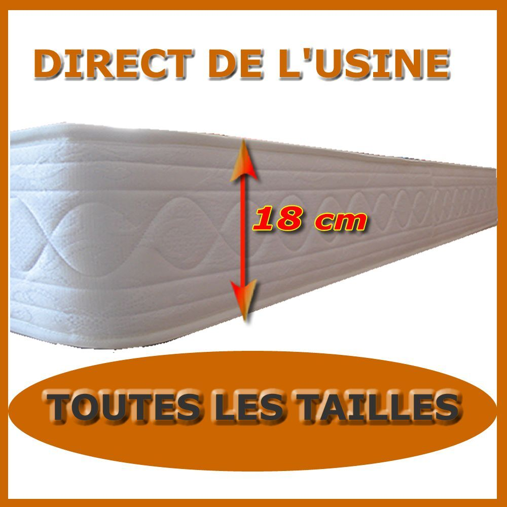 matelas mousse18 cm latex 80x200 90x190 140x190 140x200 150x190 160x200 180x200 ebay. Black Bedroom Furniture Sets. Home Design Ideas