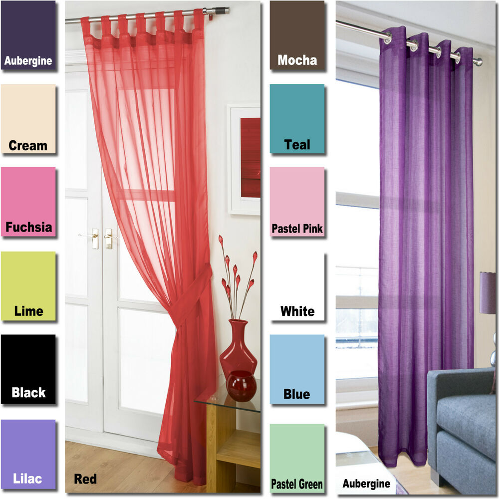 Voile Net Tab Top Curtain Panels & Linen Eyelet Ring Top