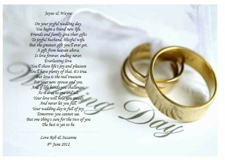 Personalised Wedding Poem -A Gift For The Bride & Groom On