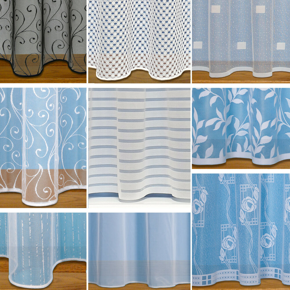 Straight Base Net Curtains With Slot Top ~ Sold By The Metre ~ White ...
