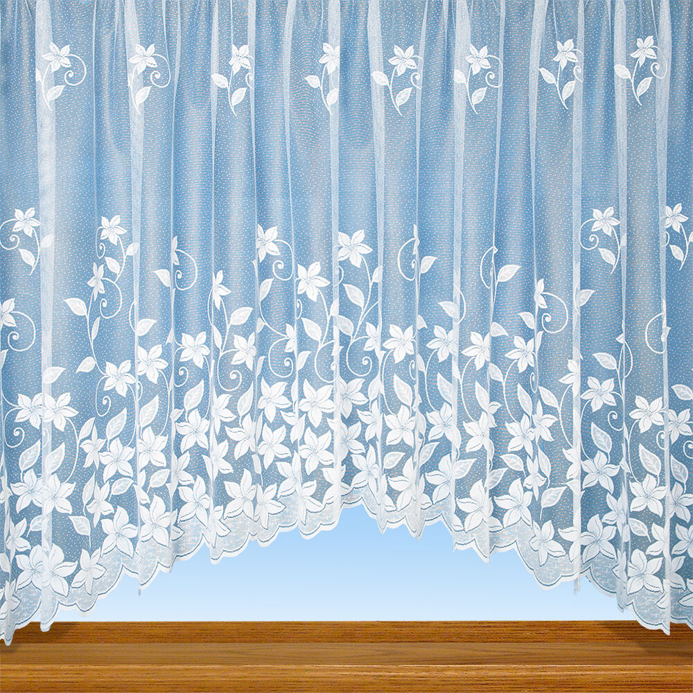 Grace floral net curtain jardiniere panel in white for Window net curtain