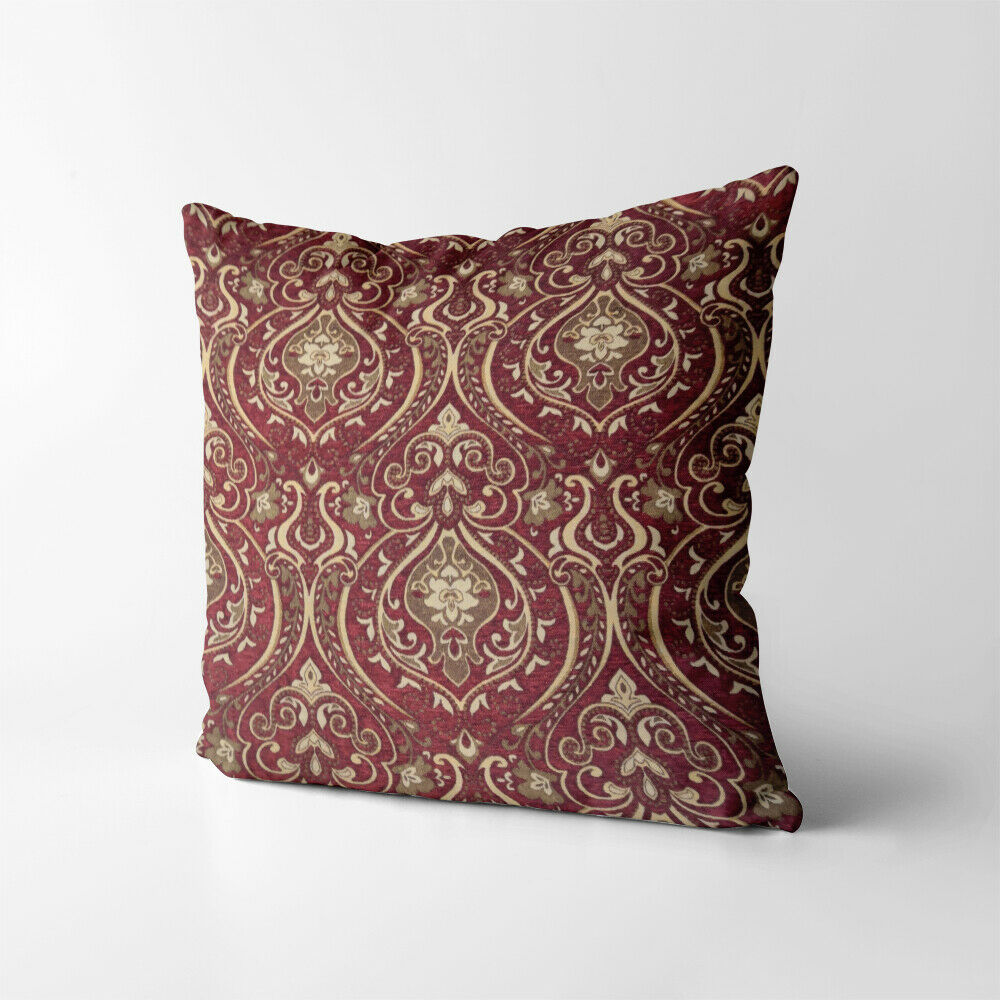 Wd33aa Gold On Red Damask Chenille Flower Throw Cushion