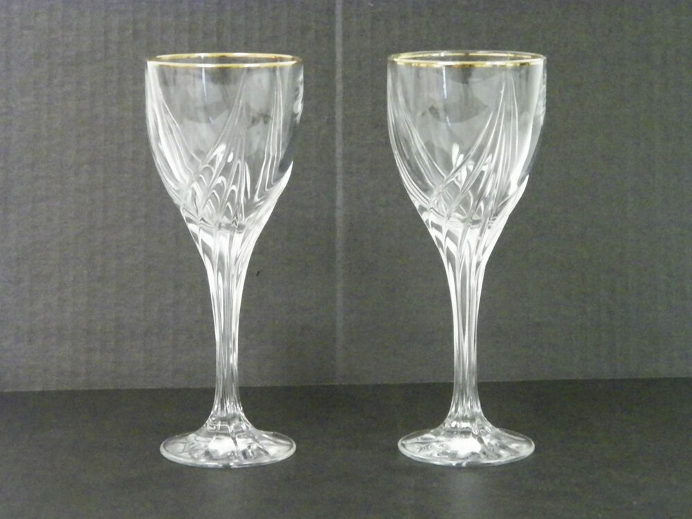 Lenox crystal medium wine goblets glasses set of two 7 1 4 tall gold rim ebay - Lenox gold rimmed wine glasses ...