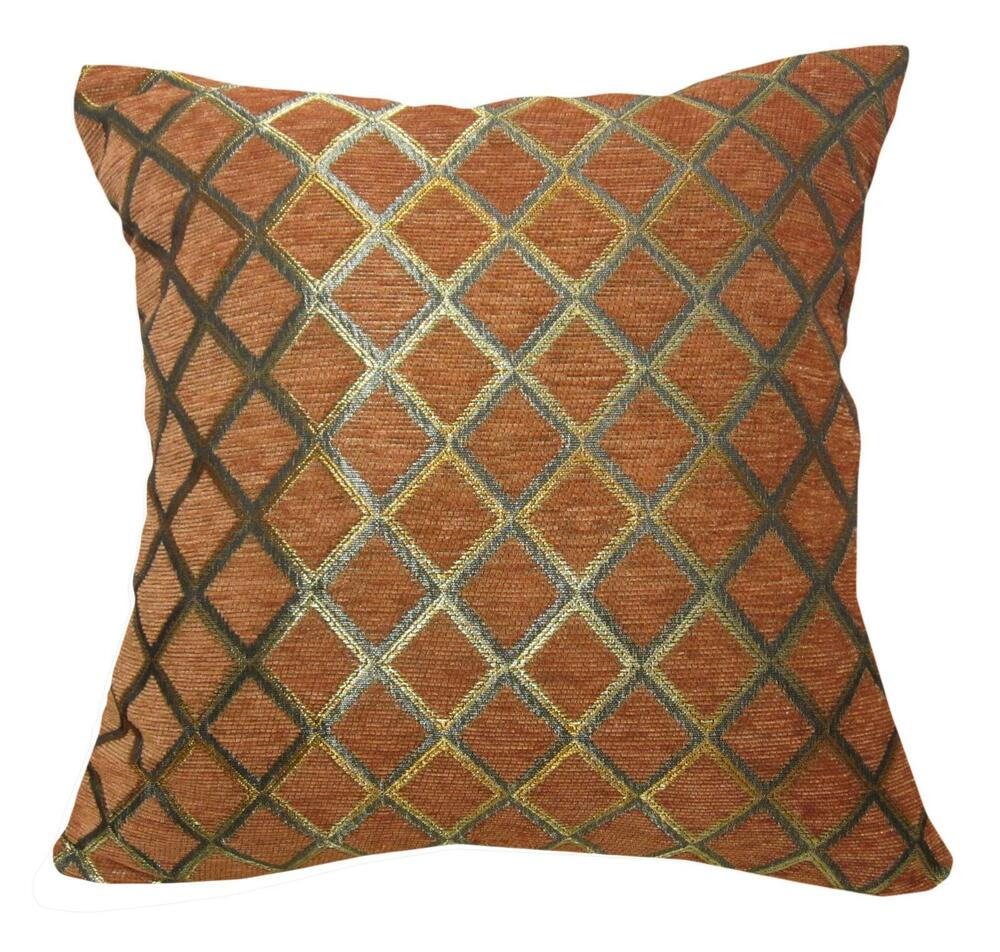 Wd39ba Reddish Brown Damask Chenille Check Throw Cushion